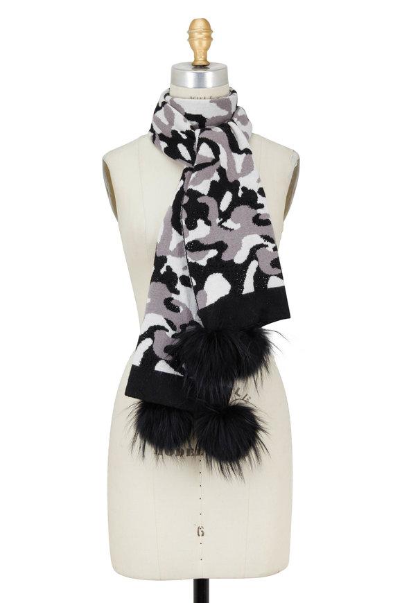 Viktoria Stass Black & White Camo Fur Pom Pom Scarf