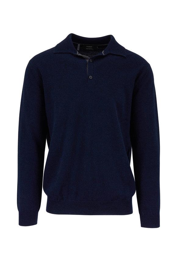 Kinross Dark Navy Cashmere Long Sleeve Polo