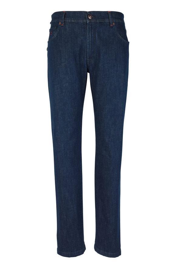 Marco Pescarolo Dark Blue Five-Pocket Jean