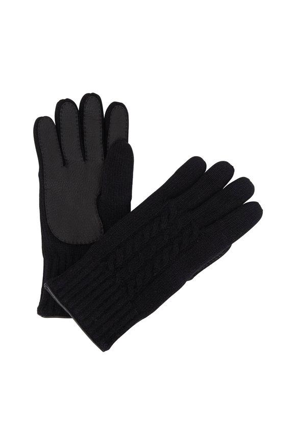 Portolano Black Cashmere Cable Knit Gloves