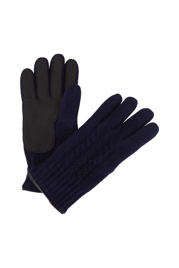 Portolano Navy Cashmere Cable Knit Gloves