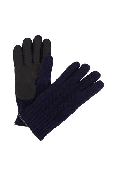 Portolano - Navy Cashmere Cable Knit Gloves