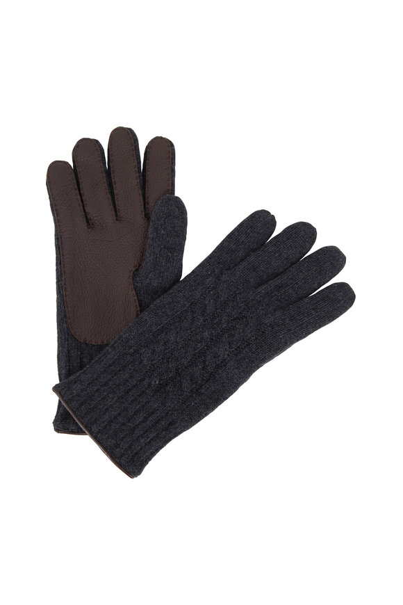 Portolano Charcoal Gray Cashmere Cable Knit Gloves