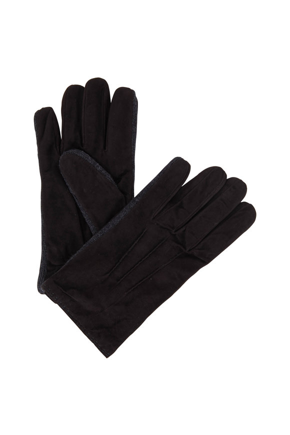 Portolano Chocolate Suede & Wool Trim Gloves