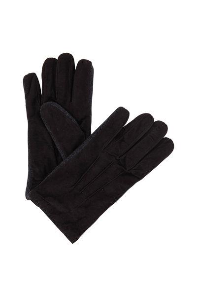 Portolano - Chocolate Suede & Wool Trim Gloves