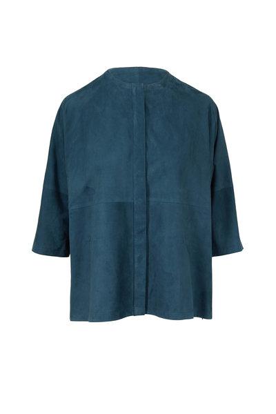 Akris - Teal Suede Kimono Top