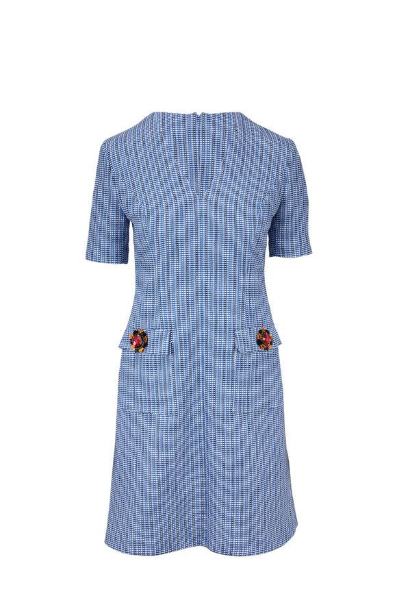 Escada Duanne Navy Tattersall Check Short Sleeve Dress