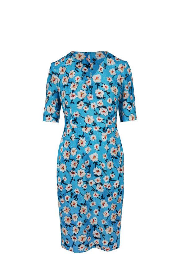 Escada Dnila Dark Blue Floral Printed V-Neck Dress