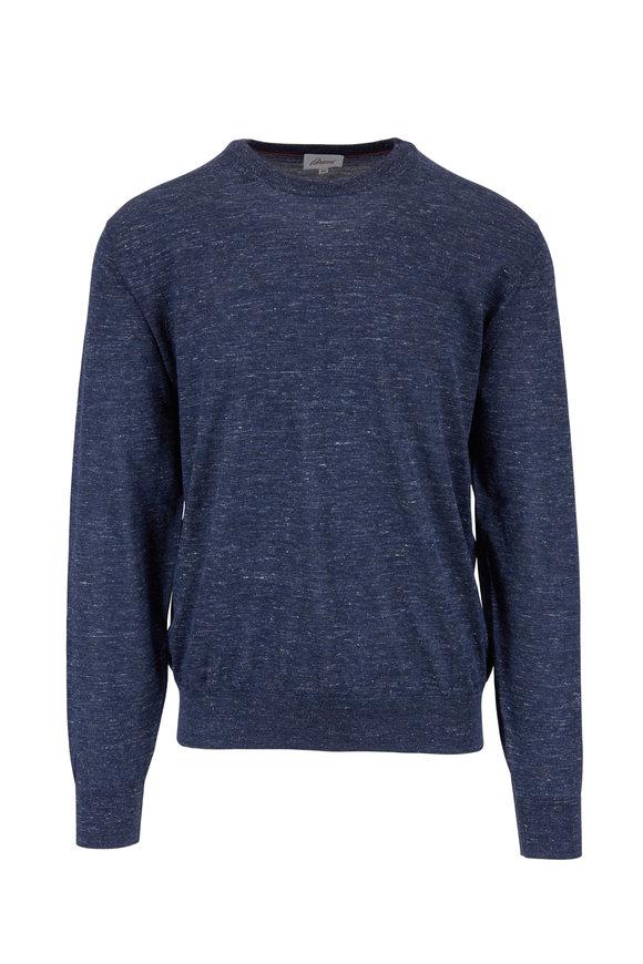 Brioni Blue Cashmere, Silk & Hemp Pullover