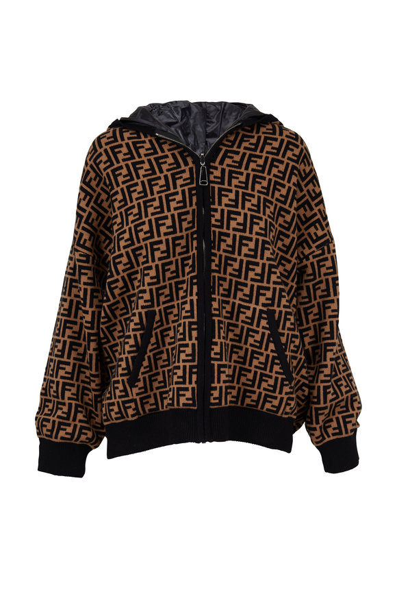 Fendi Black & Brown Logo Reversible Bomber