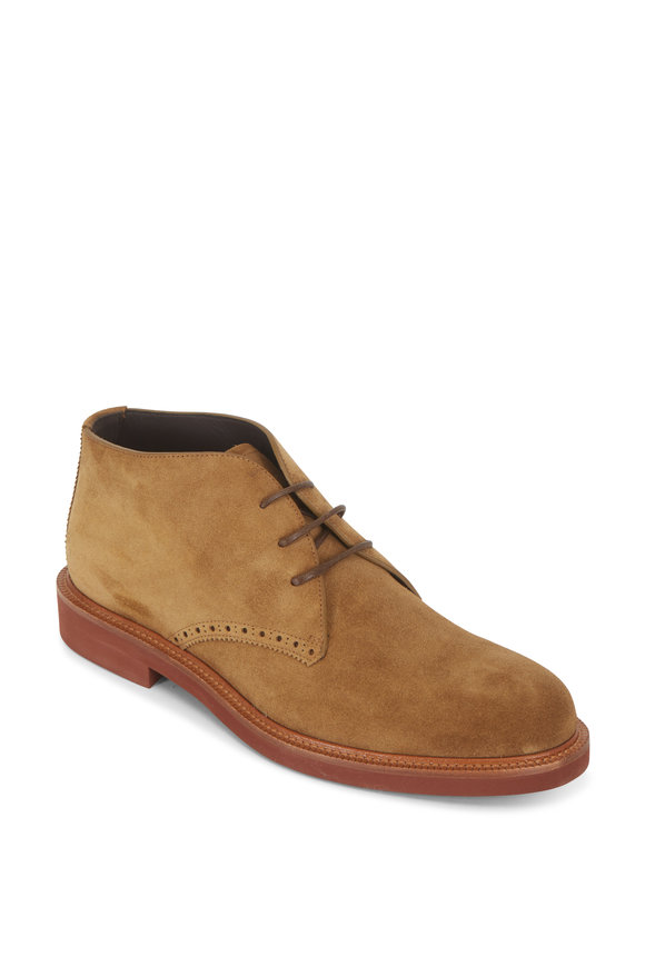 Ermenegildo Zegna Dark Beige Suede Lace-Up Boot