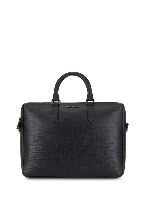 Ermenegildo Zegna Black Stuoia Leather Business Bag