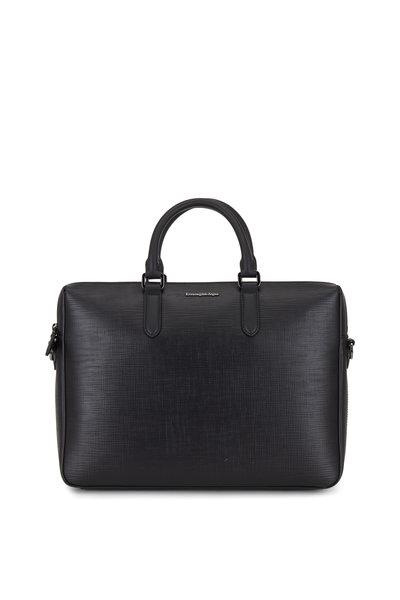 Ermenegildo Zegna - Black Stuoia Leather Business Bag