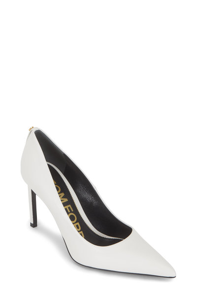 Tom Ford - Chalk Leather Classic Pointed Pump, 90mm