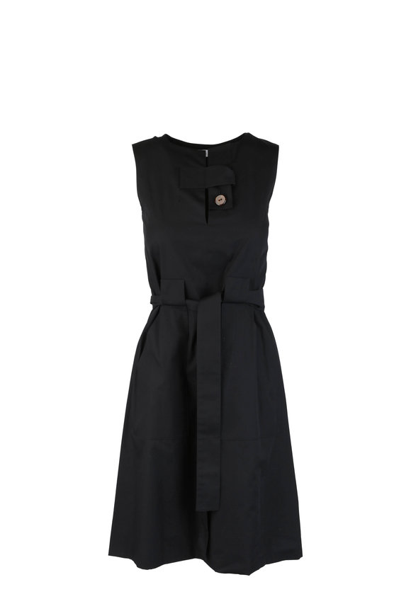 Rosetta Getty Black Belted Tab Dress