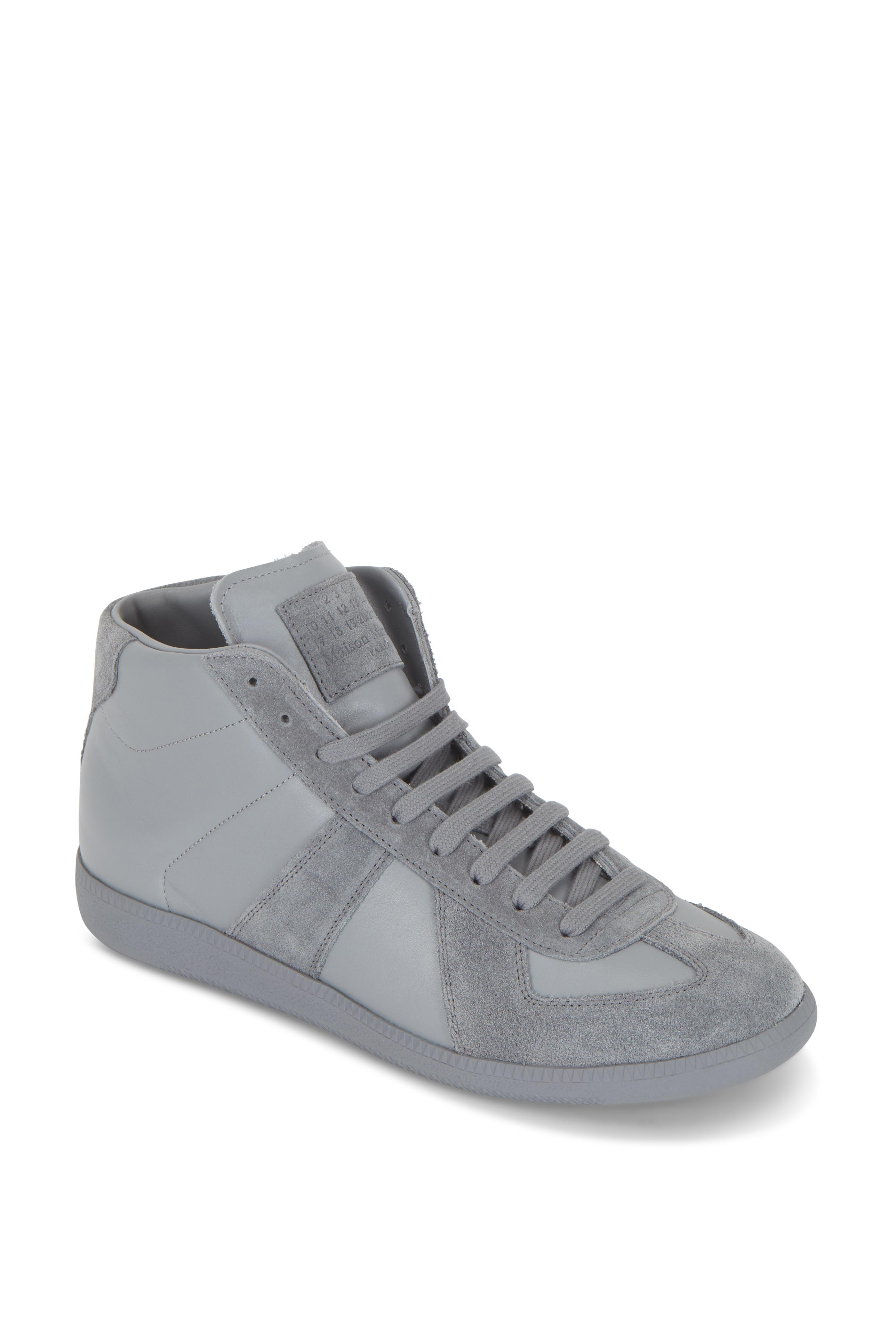 4f18074f73b Maison Margiela - Replica Gray Leather & Suede High Top Sneaker ...