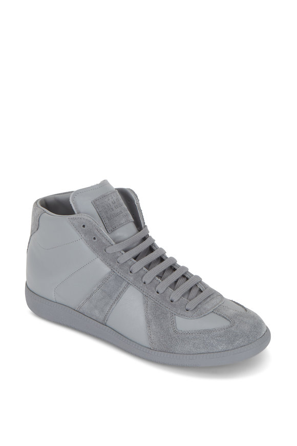Maison Margiela Replica Gray Leather & Suede High Top Sneaker