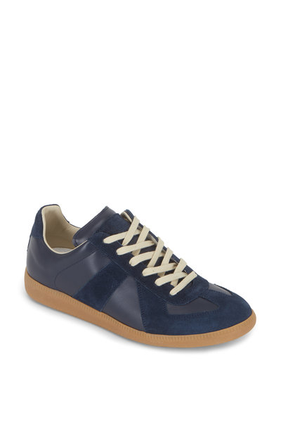 Maison Margiela - Replica Navy Blue Leather & Suede Lace-Up Sneaker