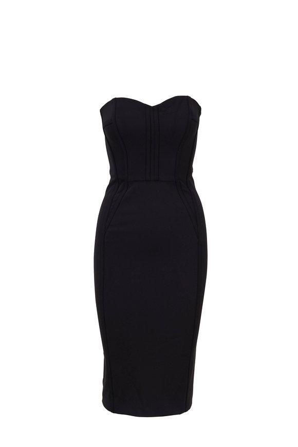 Veronica Beard Maui Black Strapless Bustier Dress