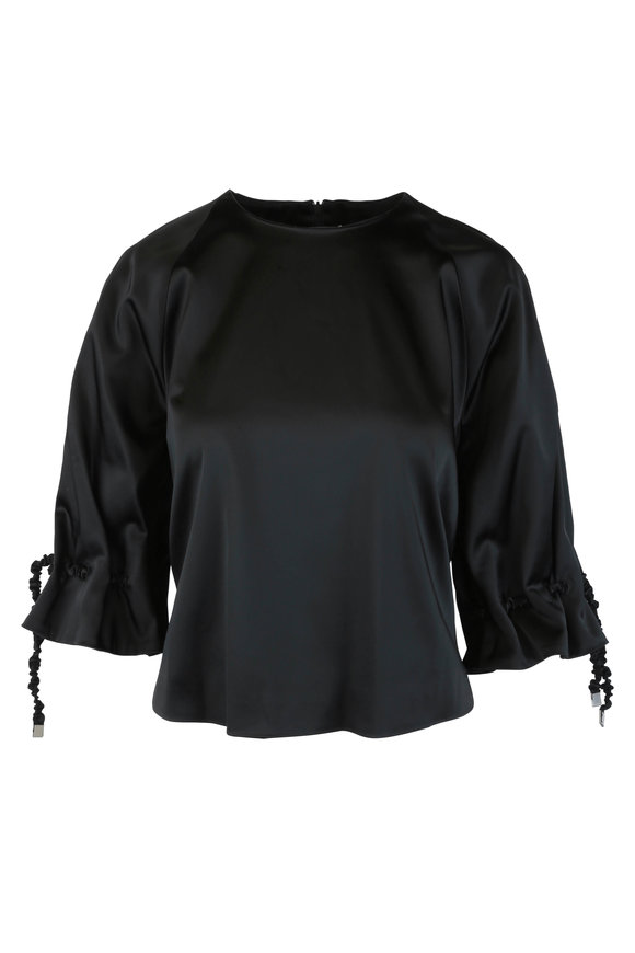 Rosetta Getty Black Ruched Drawstring Blouse