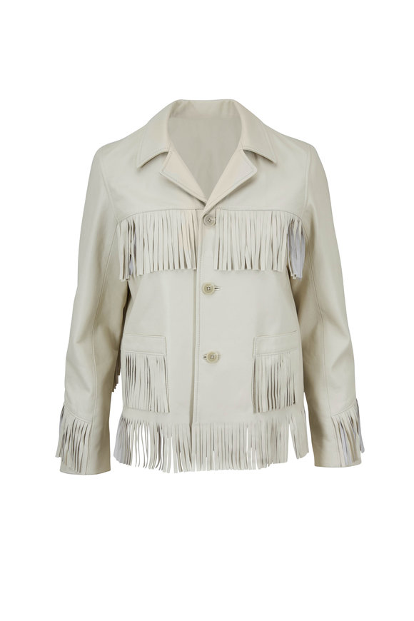 Nili Lotan Frida Bone Fringed Leather Jacket