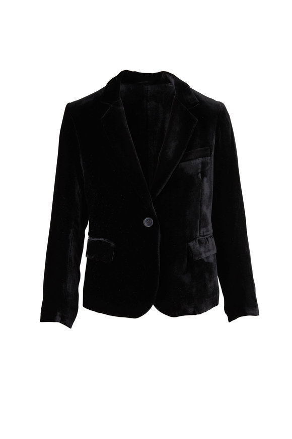 Nili Lotan Edric Black Velvet Single Button Jacket