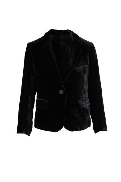 Nili Lotan - Edric Black Velvet Single Button Jacket