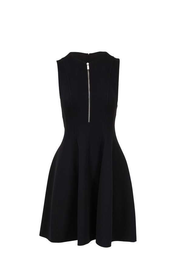 Michael Kors Collection Black Stretch Wool Quarter-Zip Dress