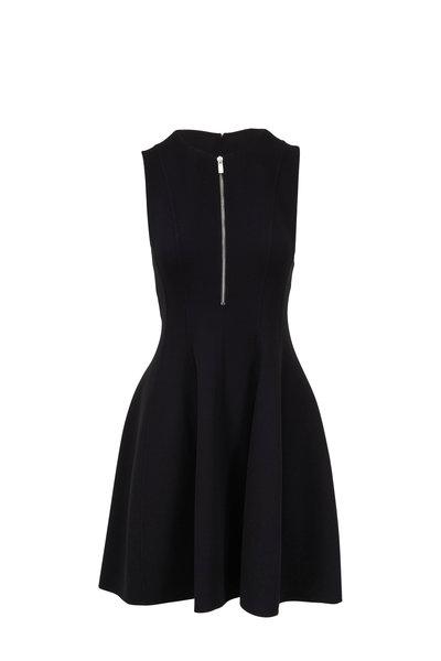 Michael Kors Collection - Black Stretch Wool Quarter-Zip Dress