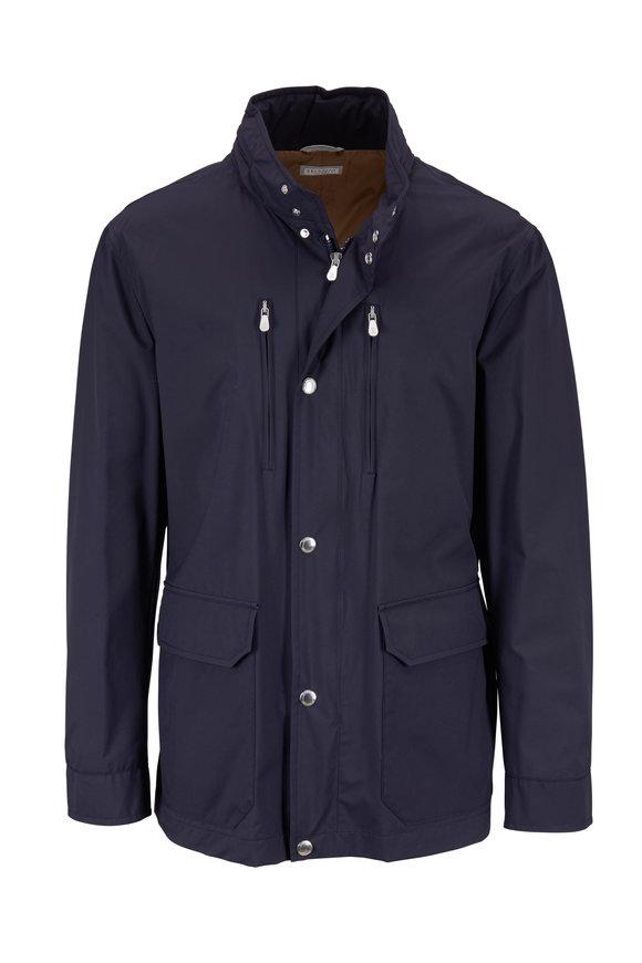 Brunello Cucinelli Dark Blue Nylon Hooded Jacket