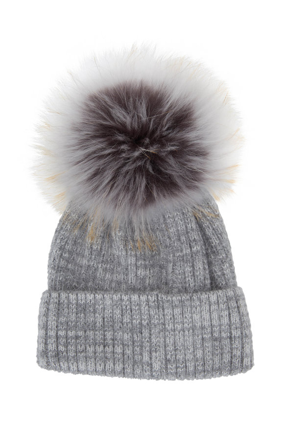 Viktoria Stass Heather Gray Ribbed Knit Fur Pom-Pom Hat