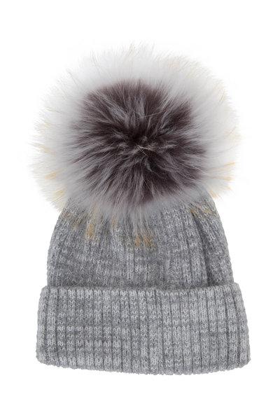 Viktoria Stass - Heather Gray Ribbed Knit Fur Pom-Pom Hat