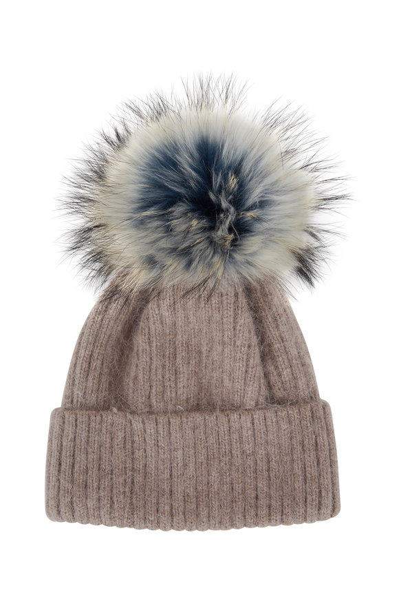Viktoria Stass Oatmeal Ribbed Knit & Fur Pom Pom Hat