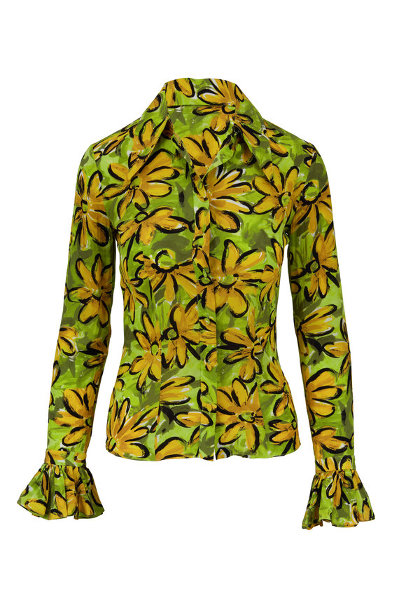 Michael Kors Collection Lime Poplin Sunflower Crushed Blouse