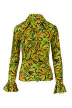 Michael Kors Collection - Lime Poplin Sunflower Crushed Blouse