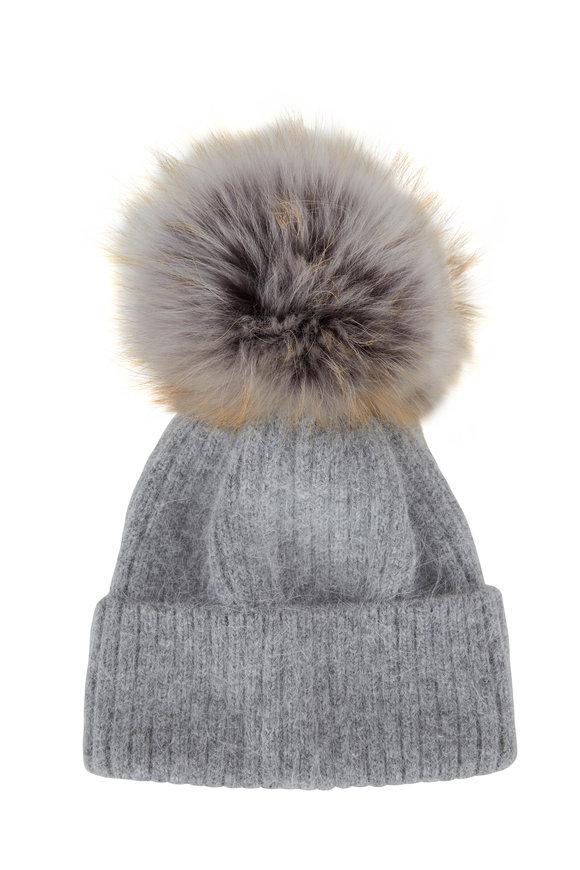 Viktoria Stass Gray Ribbed Knit & Fur Pom Pom Hat
