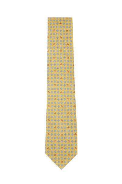 Salvatore Ferragamo - Yellow Car & Floral Silk Necktie