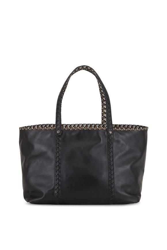 Bottega Veneta Black Leather Contrast Printed Lined Large Tote