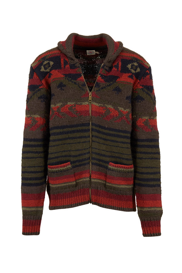 Faherty Brand Winter Woods Brown & Orange Front Zip Cardigan