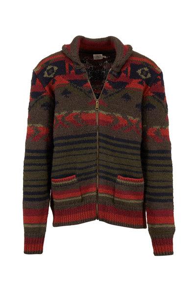 Faherty Brand - Winter Woods Brown & Orange Front Zip Cardigan