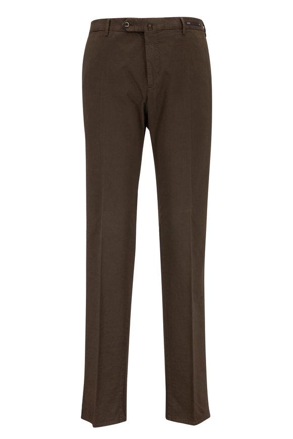 PT Pantaloni Torino Brown Stretch Cotton Slim Fit Pant