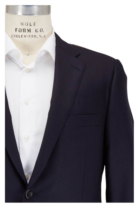 Hickey Freeman Navy Blue Cashmere Two-Button Jacket