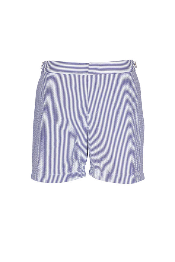 Orlebar Brown Bulldog Navy & White Seersucker Swim Trunks