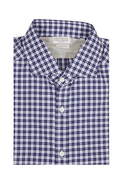 Brunello Cucinelli - Navy Blue Plaid Slim Fit Sport Shirt