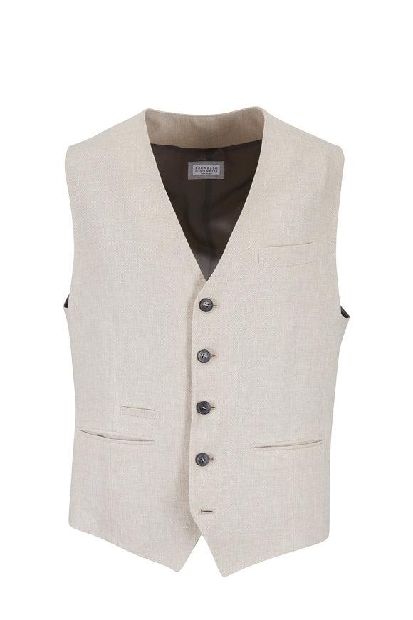 Brunello Cucinelli Beige Linen, Wool & Silk Vest