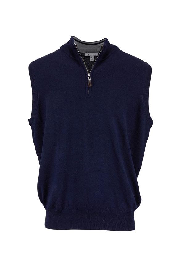 Peter Millar Navy Wool & Silk Quarter-Zip Vest