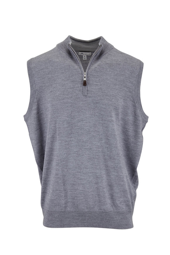 Peter Millar British Gray Wool & Silk Quarter-Zip Vest