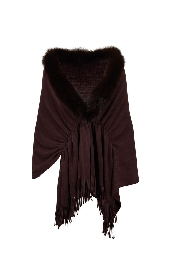 Viktoria Stass Brown Knit & Fur Trim Shoulder Wrap