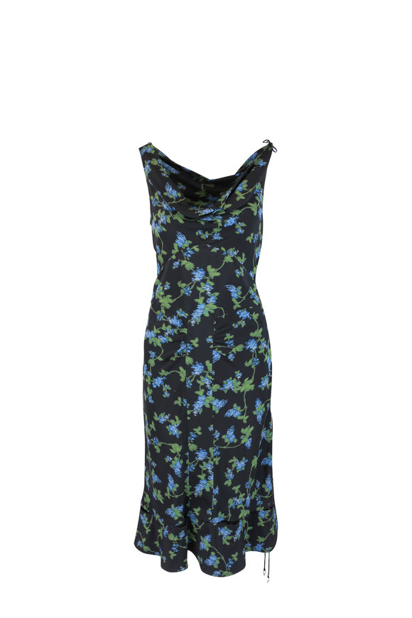 Altuzarra Black & Blue Floral Silk Dress
