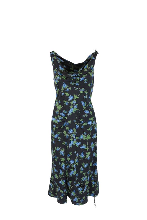 Altuzarra Black & Blue Floral Silk Dress